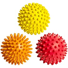 3 Spiky Massage Balls for Plantar Fasciitis, Deep Tissue, Back, Foot Massage. Spiky Massage Roller, Exercise, Stress Relief, Trigger Point Roller Ball for Feet, Back, Neck Muscles, Plantar Treatment