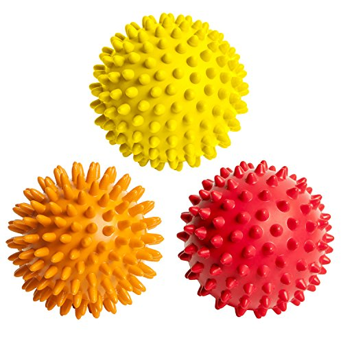 FitNext Spiky Massage Balls Feet, Back, Neck, Hands - 3 Spiked Body Massager Rollers for Plantar Fasciitis, Foot Fascia, Spikey Muscle Acupressure Therapy, Exercise, Yoga - Hard, Medium, Soft - Massage Ball Foot Rubz