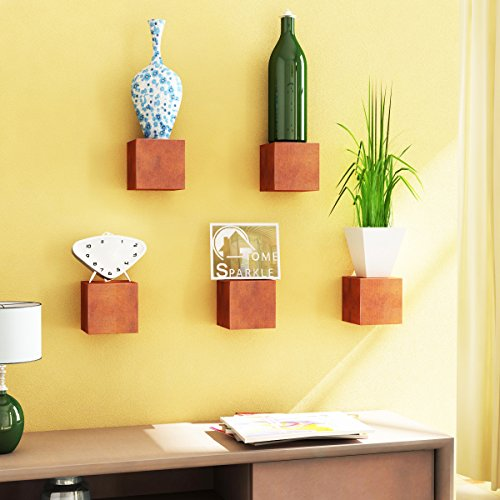Home Sparkle Cube Box Wall Shelf | Cubes Wall Shelves for Living Room Bedroom Home Decor – Set of 5  Brown