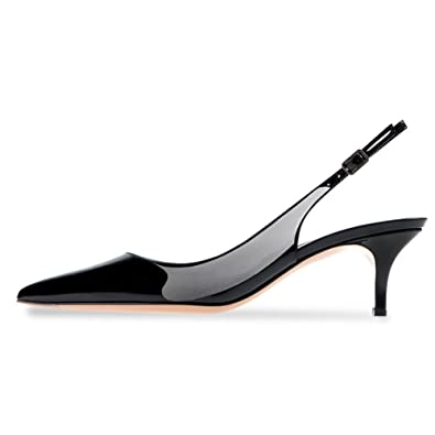 UMEXI Women Slingback Sandals Pointed Toe Mid Heel Pumps Low Heel Patent  Leather Dress Shoes Wedding