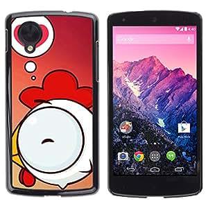 Paccase / SLIM PC / Aliminium Casa Carcasa Funda Case Cover - Cute Chicken Love - LG Google Nexus 5 D820 D821