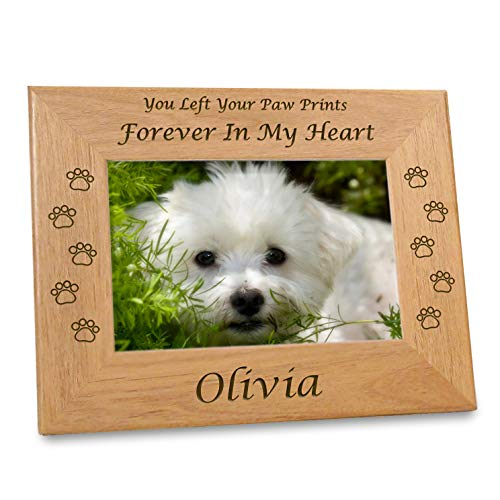(Etched In My Heart Pet Memory Frame Personalized Dog Memorial Gifts (4x6 Photo) w/