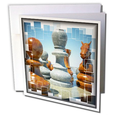 Price comparison product image 3dRose Chess Battle - Greeting Cards, 6 x 6 inches, set of 6 (gc_34038_1)