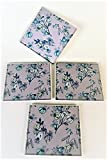 Coaster Set of Four in a Mauve Pale Pink Blue and Green with flower Lily Orchid Butterfly Design