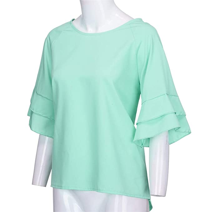 b85c3cc9 Women Tunic Tops 3/4 Bell Sleeve O-Neck Solid Color Casual Shirt Blouse at  Amazon Women's Clothing store: