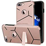HR Wireless Cell Phone Case for Apple iPhone 7 Plus - Rose Gold PC / Black TPU