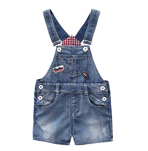 (Kidscool Baby & Little Boys/Girls Cute Blue Adjustable Denim Shortalls)