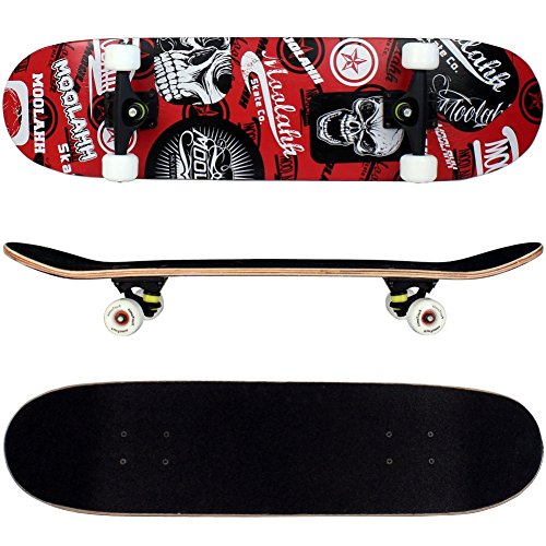 FunTomia Skateboard mit ABEC-11 Kugellager Rollenhärte 92A und 9-lagigem Ahornholz (Rot Totenkopf)