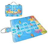 YZGO Underwater Marine Hopscotch Game Picnic Mat Waterproof Beach Blanket Tote Handy Moisture-proof Rug Pads for Travel Camping Hiking Outdoor Activities,58''x56''