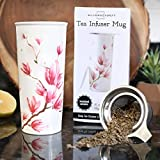 16oz Ceramic Travel Mug with Lid. Magnolia Double-Walled Tea Cup with Tea Infuser and Bonus Silicone Top. Tall Coffee and Tea Mug Single Steeps Tea Cups Loose Leaf Tea - Tea Mugs Tea Steeper