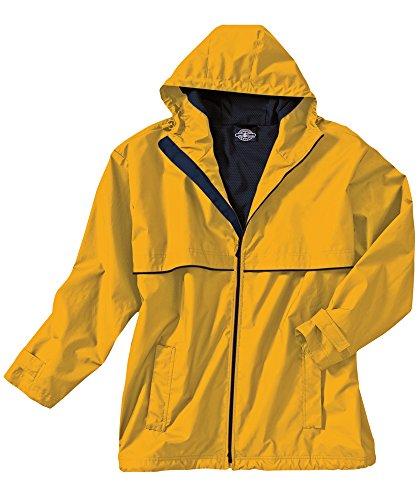 Charles River Apparel Men's New Englander Waterproof Rain Jacket (Reg & Ext Sizes), Yellow/Navy, 3XL