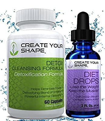 Create Your Shape Detox Cleanse Weight Loss & Diet Drops - Best Seller - Rapid Weight Loss - Flush Toxins - Appetite Suppressant - African Mango - Fat Burner - Increased Energy