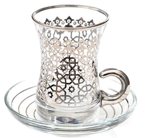 (Premium Platinum Plated Turkish Arabic Tea Glasses Set of 6 - Agra (Platinum))