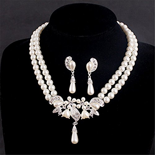 P.phoebus Austrian Crystal CZ Simulated Pearl Victorian Style Necklace Earrings Wedding Jewelry Set - 10k Pearl Earrings