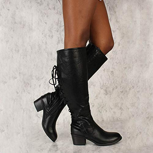 Heel Sonnena Overknee Schlauchstiefel Damen 35 Hohe Langschaftstiefel Schwarz Sexy Schuhe Elegant Schuhe Schnürer Low Outdoor Lackstiefel Stiefel Casual 43 PPF1rZq