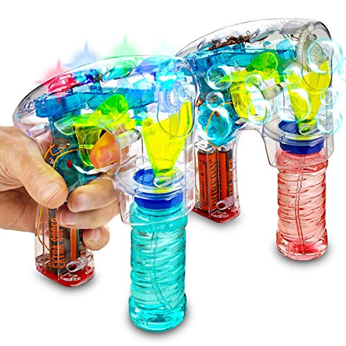 (Kidsco Bubble Gun Blower Machine - Pack of 2 Light Up LED Transparent Blaster - for Kids, Playing, Outdoors, Indoors, Gifts, and Party Favors - 1 Bubble Solution and Batteries)