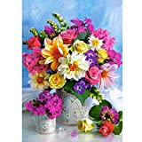 5D DIY Diamond Painting by Number Kit, Flowers in Vase Crystal Rhinestone Embroidery Cross Stitch Picture Supplies Arts Craft Wall Sticker Decor