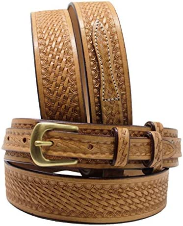45-46 PRORIDER Men's Western RANGER BELT Tooled Leather Basket Weave 26Ranger01