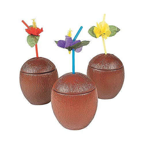 Fun Express - Coconut Cups Plastic for Party - Party Supplies - Drinkware - Sipper & Molded Cups - Party - 12 Pieces (Coconut Glasses)