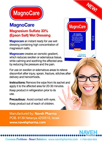 MagnoCare - Magnesium & Epsom Salt Wet Pads to Reduce Pain, Aches and Inflammation, 5 Individually-Wrapped, Single-Use Pads, by Naveh Pharma