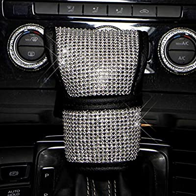Fashowlife Car Bling Gear Shift Knob Cover & Handbrake Cover Set Crystal Diamond Auto Car Decoration Accessories Stick Protector for Women Men: Automotive