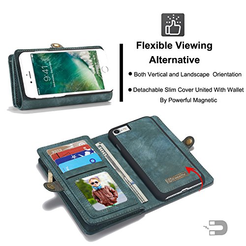 ICE FROG iPhone 7 / 8 Plus 5.5'' Wallet Case, Premium Folio Zipper Purse Leather Detachable Magnetic Case with Flip Credit Card Slots Stand Holder Cover for iPhone 7 / 8 Plus 5.5 inch - Blue by ICE FROG (Image #6)