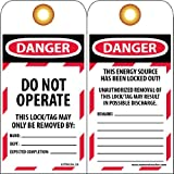 "Tools & Hardware : NMC LOTAG36-25 Lockout Tag, ""DANGER - DO NOT OPERATE,"" 6"" Height x 3"" Width, Unrippable Vinyl, Red/Black on White (Pack of 25)"