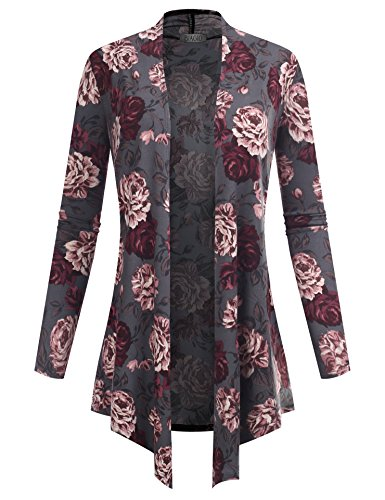 BIADANI Women's Open Front Lightweight Cardigan Floral Print 601039 Charcoal Small