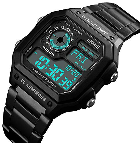Men's Luxury Digital Waterproof Wrist Watches Multi-Function Pedometer Calories Compass World Time Countdown Stopwatch Sports Watch (C Black)