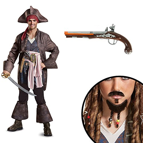 Pirates of the Caribbean Captain Jack Deluxe Adult Costume Kit XL - Deluxe Adult Captain Jack Sparrow Costumes