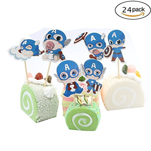 Cupcake Toppers Birthday Party Supplies,Cake Decoration Baby Showerfor for Kids Birthday Party-Captain America Set of 24 -