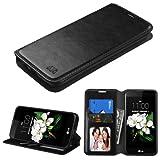 LG K7 Tribute 5 Wallet Case - Wydan (TM) Credit Card Leather Wallet Style Case Kickstand Phone Protector Cover Metro PCS T-Mobile - Black w/ Wydan Stylus Pen