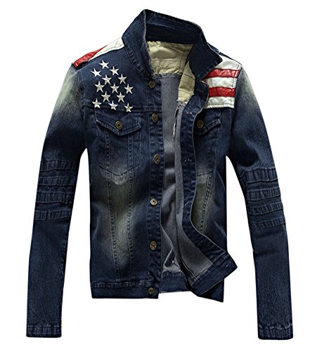 Lashapear Men's Fitted Motorcycle Blue Jeans American Flag Patriot Denim Jacket,