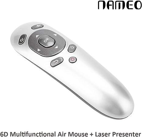 Nameo aire ratón, Mini inalámbrico de 2,4 G giroscopio 6d + Air Mouse puntero láser PPT Presentador con control remoto para PC portátil Tablet TV Box Smart TV Show: Amazon.es: Electrónica