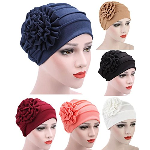 Women Muslim Turban Hat Chemo Hair Loss Head Scarf Wrap Hijib Cap (Black)