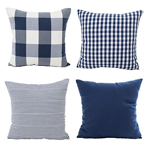 Pillow Checkered (Yumin Classic Checkered Throw Pillow Case Cushion Cover 4 Sets for Couch Sofa Decoration 18x18 Inch(Blue))