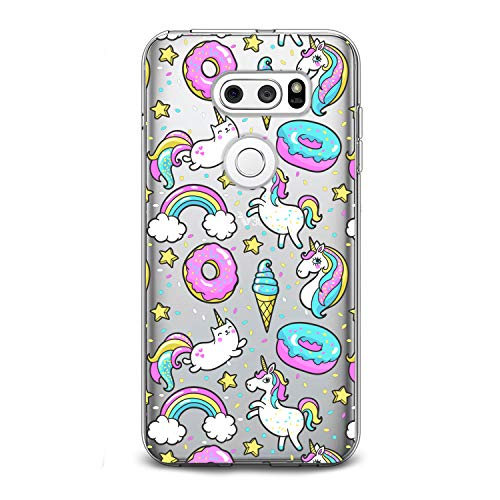 Lex Altern TPU Case for LG G8 Stylo 5 K11 G7 ThinQ G6 V40 V35 V50 K8 Unicorn Cute Pink Clear Donut Cover Silicone Food Durable Print Protective Kid Girl Design Transparent Women Teen Blue Ice Cream -