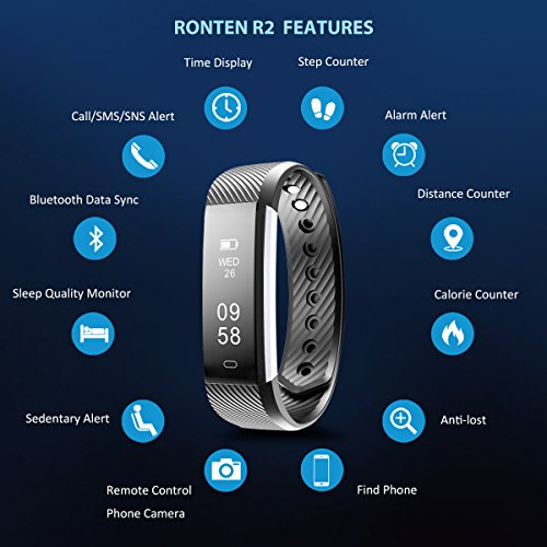 Fitness Tracker, Ronten R2 Bluetooth Waterproof Activity Tracker Wireless Pedometer Smart Bracelet Wristband with OLED Touch Screen for IOS & Android Smartphone