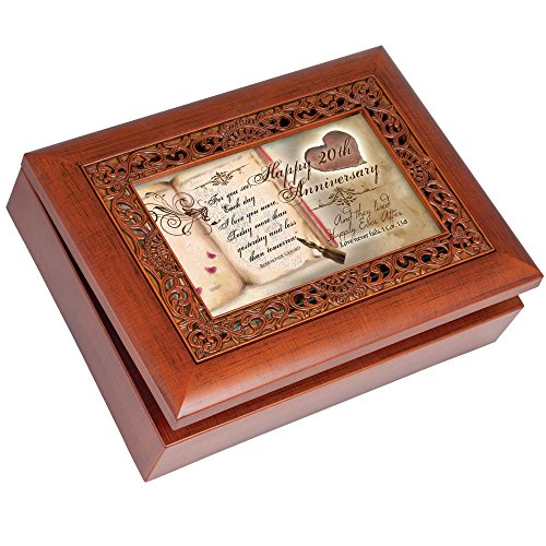 (Cottage Garden Happy 20th Anniversary Rich Woodgrain Finish with Ornate Inlay Jewelry Music Box - Plays Amazing Grace)