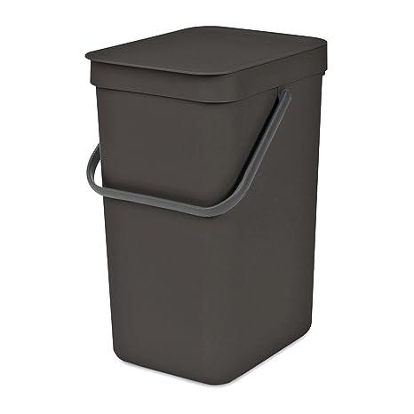 Brabantia Sort & Go - Contenedor de basura, plástico, gris oscuro, 16 litros
