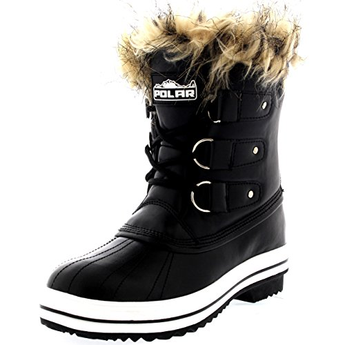 Womens Fur Cuff Lace Up Rubber Sole Short Winter Snow Rain Shoe Boots - 7 - BLL38 - Snow Cuff