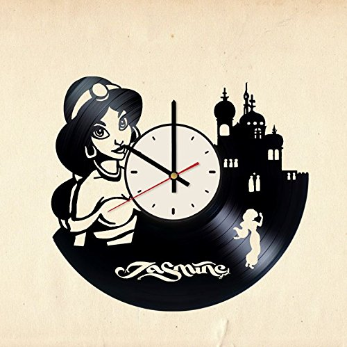 Spring Princess Disney (Disney Princess Jasmine vinyl wall clock - handmade unique home bedroom living kids room nursery wall decor great gifts idea for birthday, wedding, anniversary - customize your clock (White/Black))