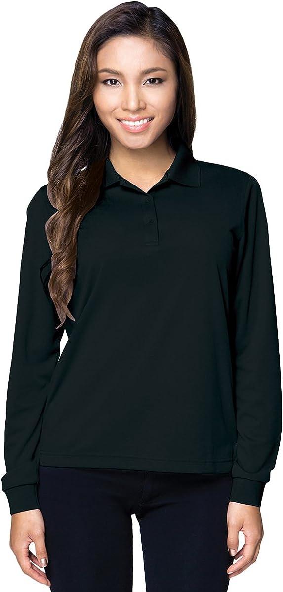 Tri-Mountain Womens 100 Polyester Ultracool 3-Button Mini-Pique Long Sleeve Polo
