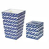 Trash Can Trash Bin Wastebasket & Tissue Box Cover Bathroom Sets Wave Design