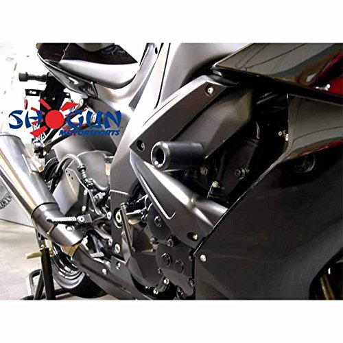 2009-2012 Kawasaki ZX6R ZX6RR ZX636 Black Frame Sliders - 750-4439 - MADE IN THE USA by Shogun Motorsports (Image #2)