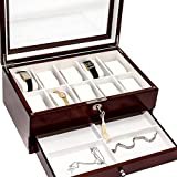 Bello Games New York, Inc. St. Mark's Place Men's/Women's Walnut finished 10 Watch & Jewelry Box
