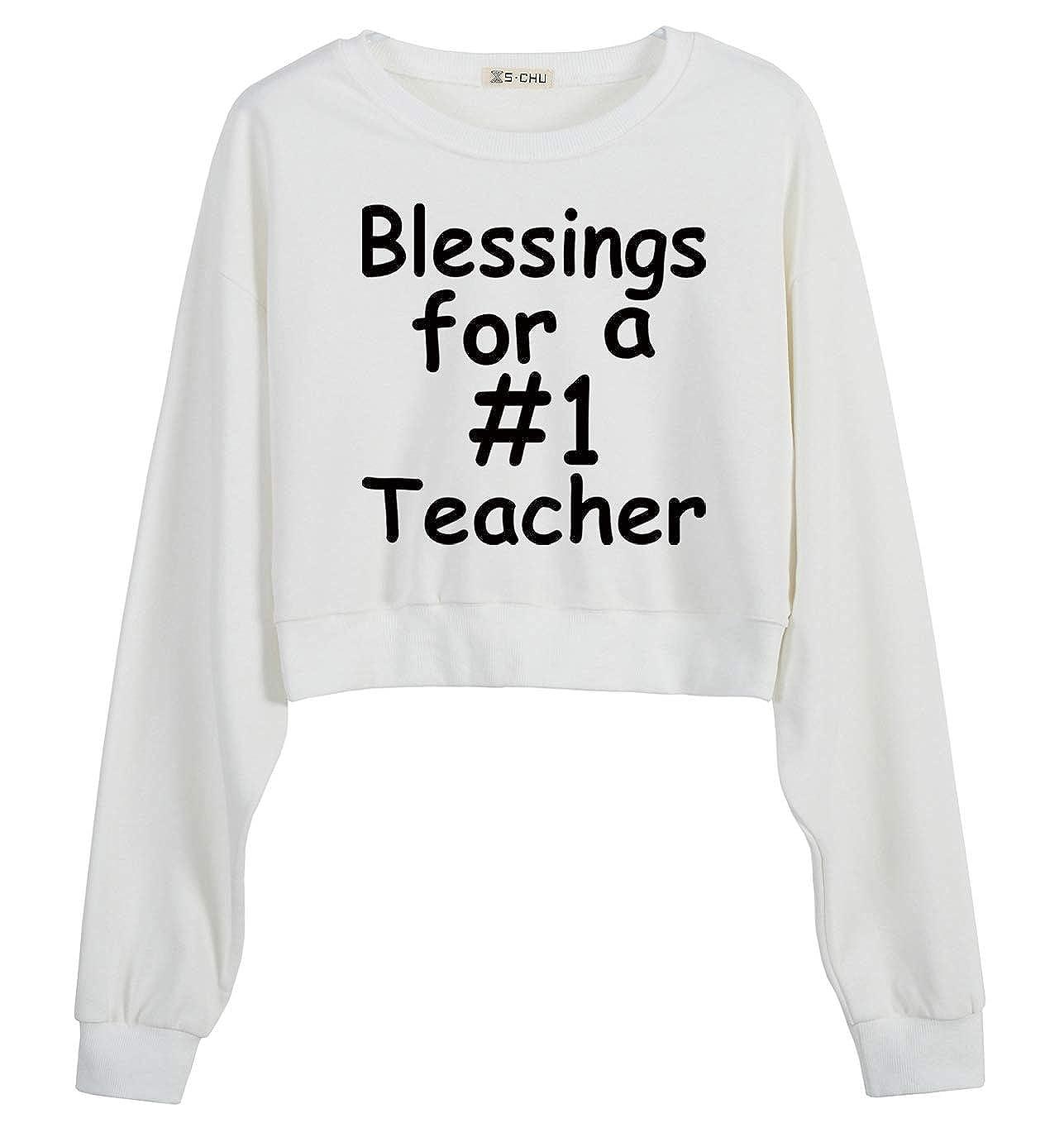 S.CHU Womens Blessing Teacher Printed Crop Sweatshirt Pullover