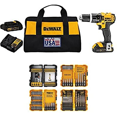 DEWALT DCD785C2A 20V MAX Lithium Ion Compact 1.5 Ah Hammer Drill/Driver Kit w/ Screwdriving and Drilling Set, 100 Piece