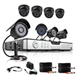 ZMODO Security Surveillance Camera System 16CH DVR 8x 600TVL Night Vision Hi-Resolution Indoor/Outdoor Security Cameras 1TB HDD
