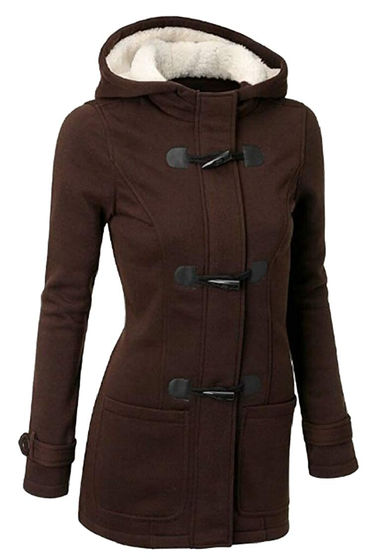 XQS Women Hoodie Zipper Horn Button Wool Parka Overcoat Jacket Outerwear